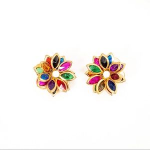 Vintage Gold Tone Multi-Coloured Floral Earrings